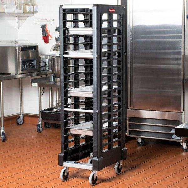 Rubbermaid FG331700BLA ProServe 18 Pan Black Max System End Load Steam Table Pan Rack - Unassembled Main Image 9