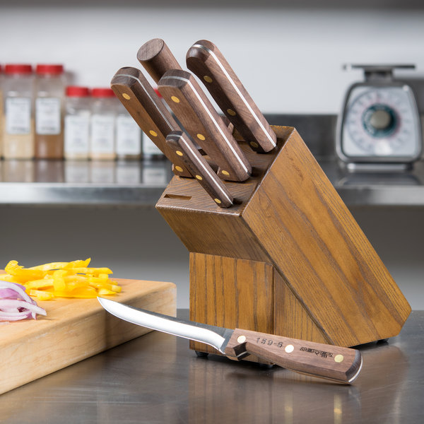 Dexter-Russell 20331 Traditional 7-Piece Slant Knife Block Set with Walnut Handles