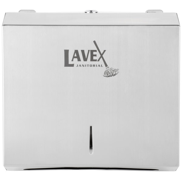 Lavex Janitorial Stainless Steel 200 C-Fold or 275 Multifold Surface-Mounted Paper Towel Dispenser