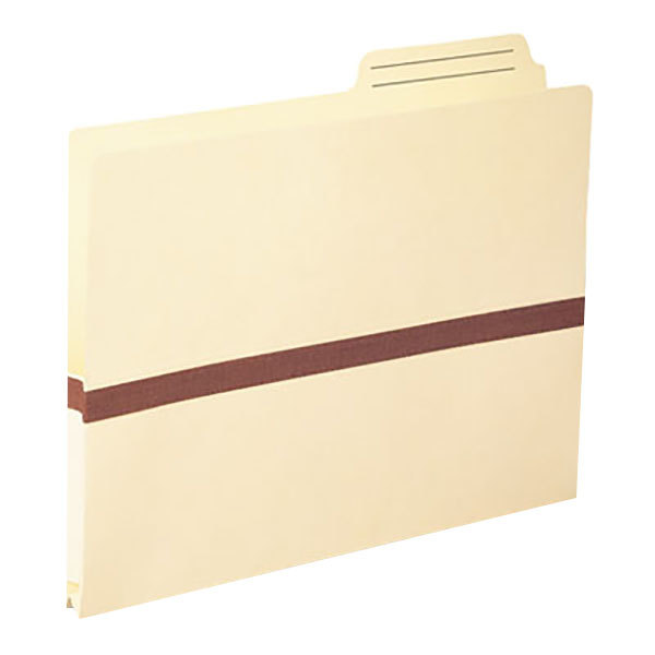 "Smead 75487 Letter Size Tyvek® Reinforced File Pocket - 1"" Expansion with 2/5 Cut Right Position Tab, Manila"