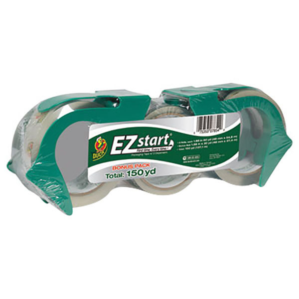 "Duck Tape 1079097 EZ Start 1 7/8"" x 60 Yards Clear Premium Packaging Tape - 3/Pack"