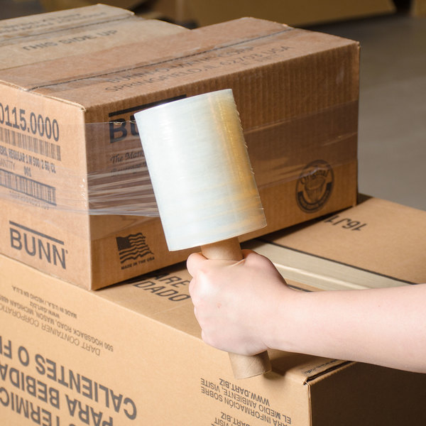 """5"""" x 1000' Disposable 80 Gauge Banding Film / Pallet Wrap / Stretch Film - 15/Case"""
