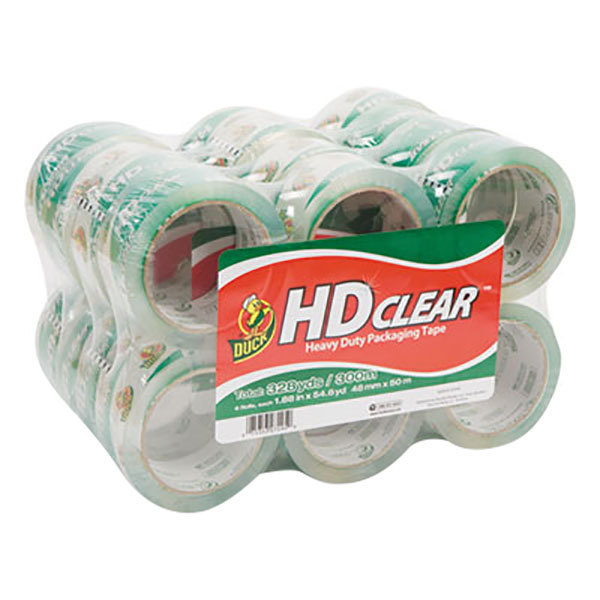 "Duck Tape 393730 1 7/8"" x 55 Yards Clear Heavy-Duty Carton Packaging Tape - 24/Pack"
