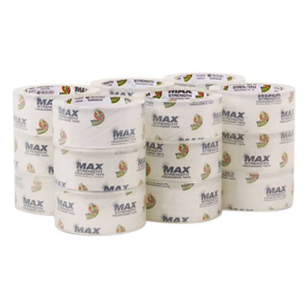 """Duck Tape 241514 MAX 1 7/8"""" x 54 5/8 Yards Clear Packaging Tape - 18/Pack"""