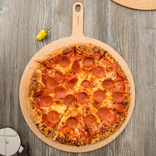"Epicurean 429-211601 16"" Natural Richlite Wood Fiber Round Pizza Board with 5"" Handle Main Image 2"
