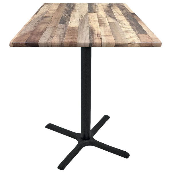 "Holland Bar Stool OD211-3030BWOD36SQRustic 36"" Square Rustic Wood Laminate Outdoor / Indoor Standard Height Table with Cross Base"