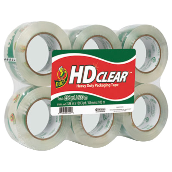 "Duck Tape 299016 1 7/8"" x 110 Yards Clear Heavy-Duty Carton Packaging Tape - 6/Pack"