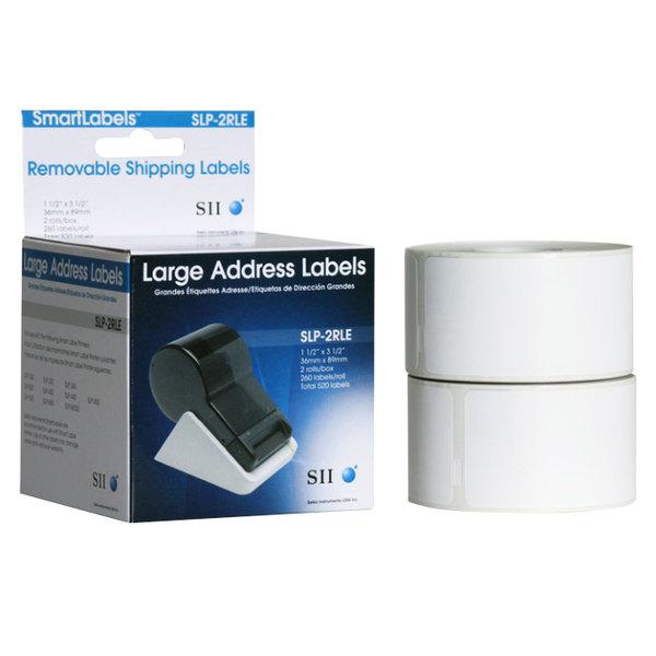 "Seiko Instruments SLP2RLE 1 1/2"" x 3 1/2"" White Self-Adhesive Printable Address Labels - 520/Box Main Image 1"