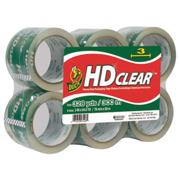 """Duck Tape 0007496 3"""" x 55 Yards Clear Heavy-Duty Carton Packaging Tape - 6/Pack"""