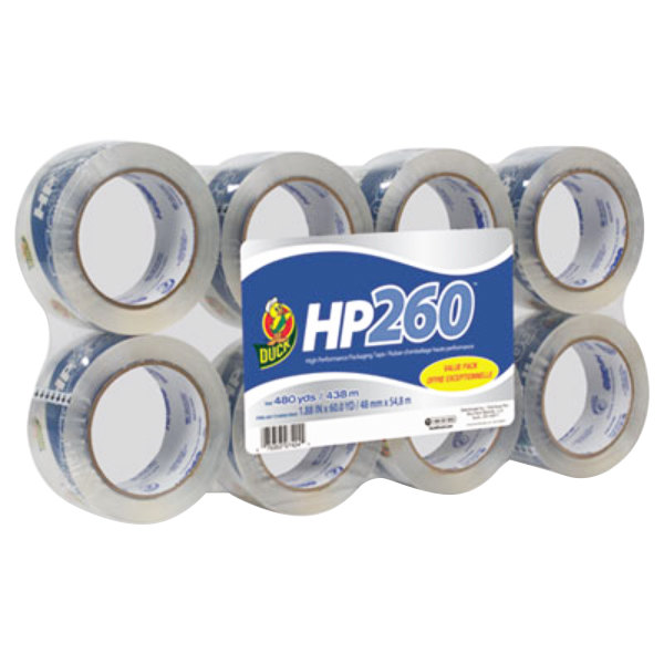 """Duck Tape 0007424 HP260 1 7/8"""" x 60 Yards Clear Packaging Tape - 8/Pack"""