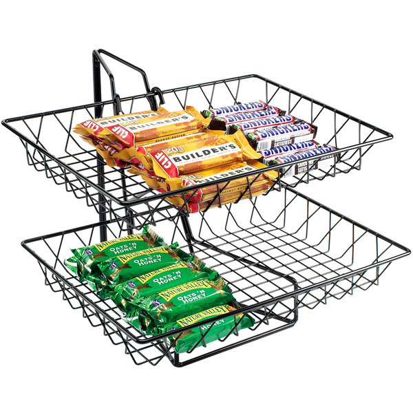 "Cal-Mil 1291-2 Two Tier Merchandiser with Rectangular Wire Baskets - 18"" x 15"" x 15"""