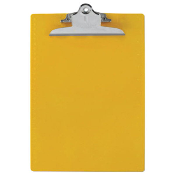 """Saunders 21605 1"""" Capacity 12"""" x 8 1/2"""" Yellow Recycled Plastic Clipboard with Ruler Edge Main Image 1"""