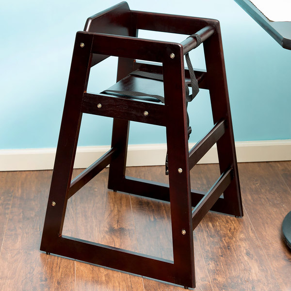 Stacking Wood High Chair with Dark Brown Finish - Unassembled