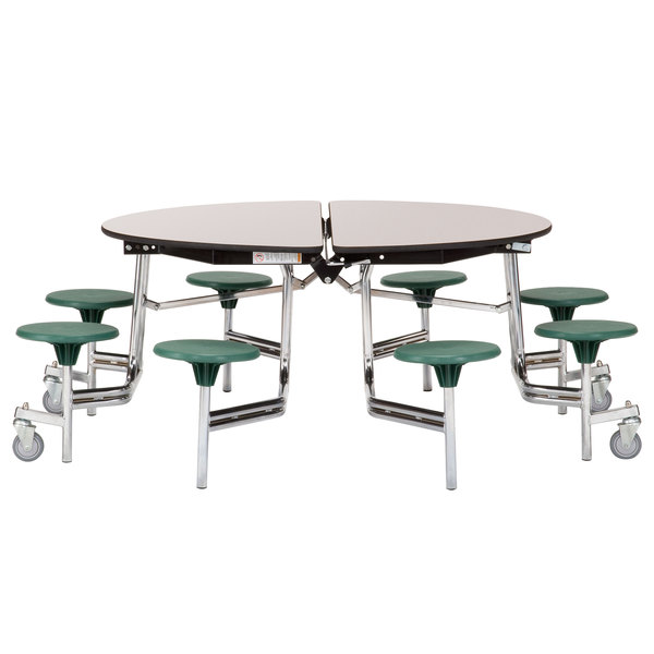 National Public Seating Mtr60s Pbtmpc 60 Round Mobile Cafeteria Table With Particleboard Core And 8 Stools