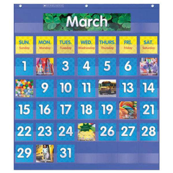 "Scholastic 511479 25 1/2"" x 10"" Blue Monthly Calendar Pocket Chart Main Image 1"