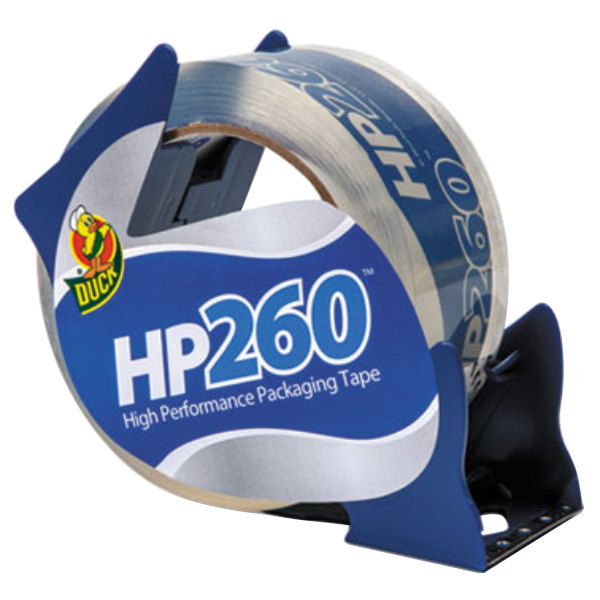 """Duck Tape 07364 HP260 1 7/8"""" x 60 Yards Clear Carton Sealing Tape with Dispenser"""
