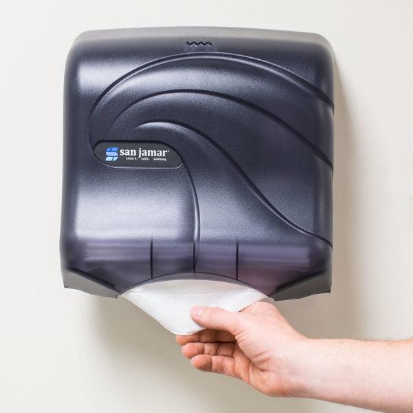 San Jamar T1759TBK Oceans Ultrafold C-Fold / Multifold Towel Dispenser - Black Pearl