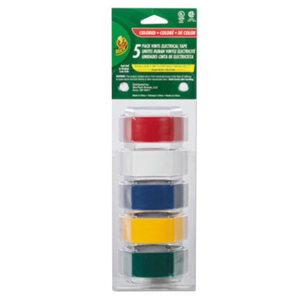 """Duck Tape 280303 3/4"""" x 4 Yards Assorted Color Electrical Tape - 5/Pack"""