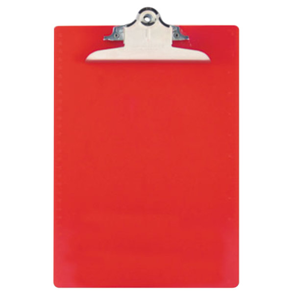 """Saunders 21601 1"""" Capacity 12"""" x 8 1/2"""" Red Recycled Plastic Clipboard with Ruler Edge Main Image 1"""