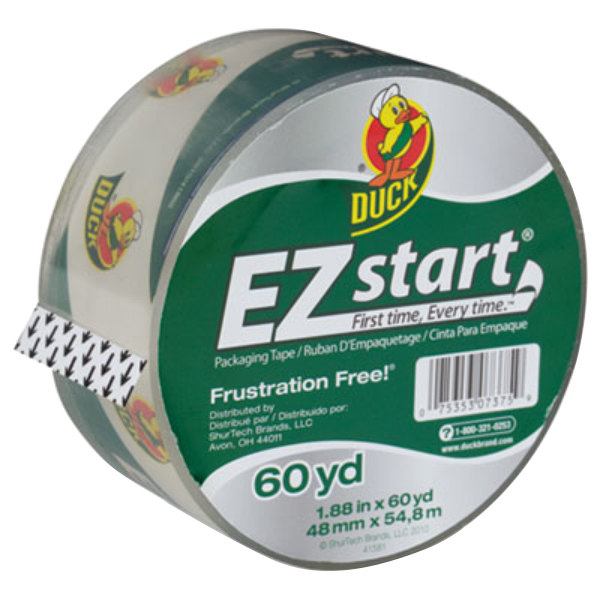 "Duck Tape CS60C EZ Start 1 7/8"" x 60 Yards Clear Premium Packaging Tape"