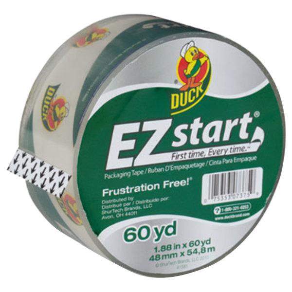 "Duck Tape CS60C EZ Start 1 7/8"" x 60 Yards Clear Premium Packaging Tape"
