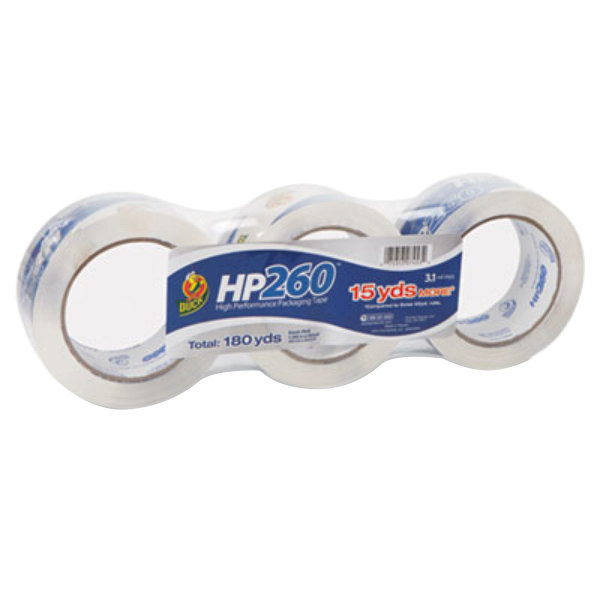 """Duck Tape HP260C03 1 7/8"""" x 60 Yards Clear Carton Sealing Tape - 3/Pack"""