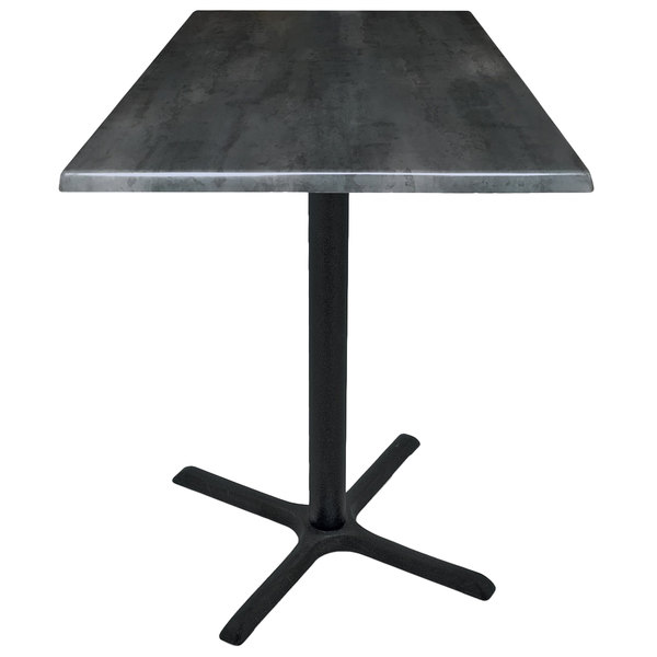 """Holland Bar Stool OD211-3030BWOD30SQBlkStl 30"""" Square Black Steel Laminate Outdoor / Indoor Standard Height Table with Cross Base"""