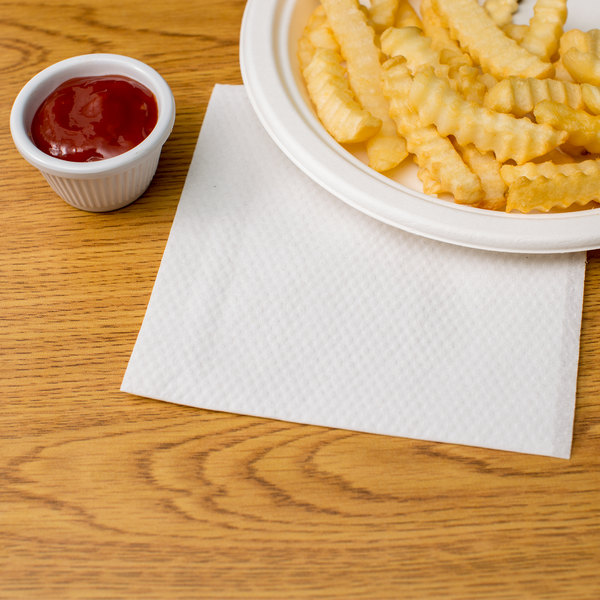 "10"" x 12"" White 1/4 Fold Luncheon Napkin - 6000/Case Main Image 3"