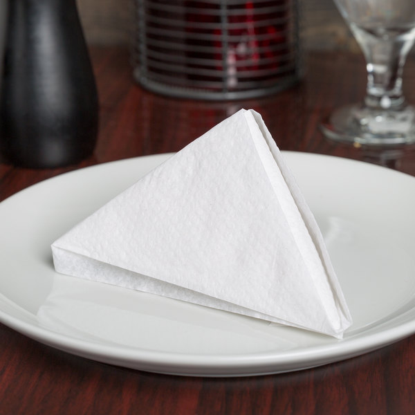 "12"" x 12"" White 1/4 Fold Luncheon Napkin - 6000/Case"