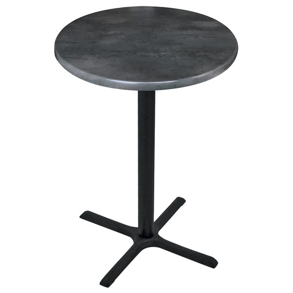 "Holland Bar Stool OD211-3030BWOD30RBlkStl 30"" Round Black Steel Laminate Outdoor / Indoor Standard Height Table with Cross Base Main Image 1"