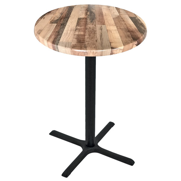"""Holland Bar Stool OD211-3030BWOD30RRustic 30"""" Round Rustic Wood Laminate Outdoor / Indoor Standard Height Table with Cross Base"""