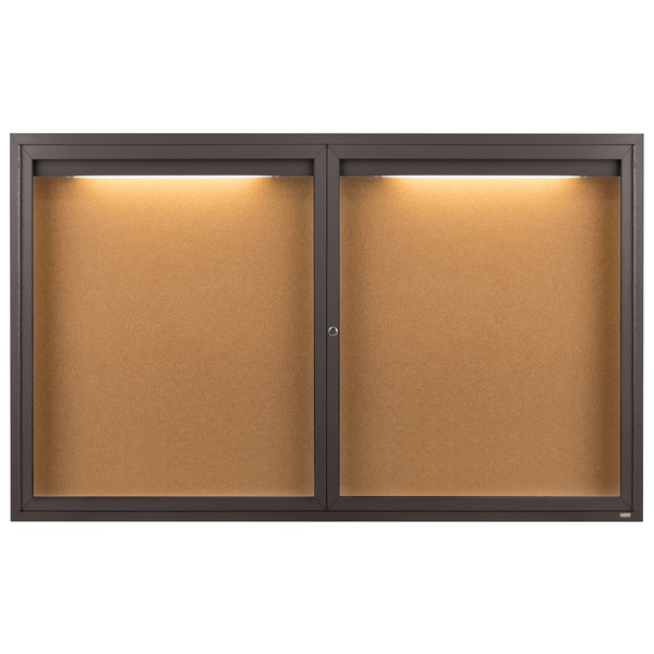 """Aarco DCC3660RIBA 36"""" x 60"""" Enclosed Hinged Locking 2 Door Bronze Anodized Finish Indoor Lighted Bulletin Board Cabinet"""