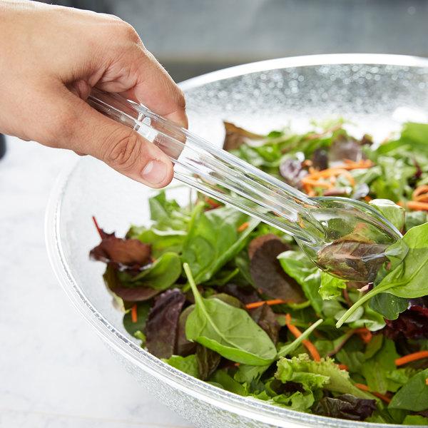 "Carlisle 400907 Carly 9"" Clear Polycarbonate Salad Tongs"
