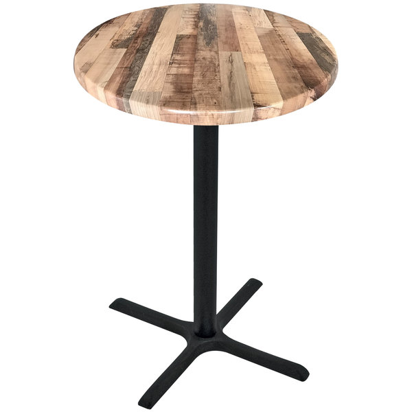 "Holland Bar Stool OD211-3042BWOD36RRustic 36"" Round Rustic Wood Laminate Outdoor / Indoor Bar Height Table with Cross Base"