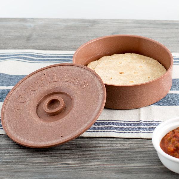 "Choice 8 1/2"" Brown Tortilla Warmer / Server"