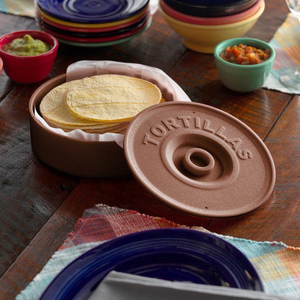 "Choice 8 1/2"" Brown Tortilla Warmer / Server Main Image 2"