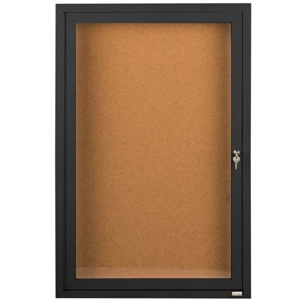"Aarco DCC3624RBK 36"" x 24"" Enclosed Hinged Locking 1 Door Powder Coated Black Finish Indoor Bulletin Board Cabinet"