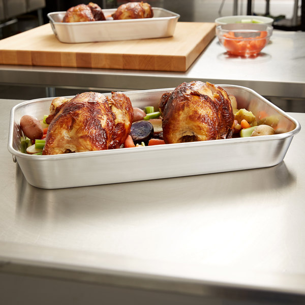 "Vollrath 68257 Wear-Ever 7.5 Qt. Bake and Roast Pan with Handles - 17 5/8"" x 11 3/4"" x 2 7/16"""