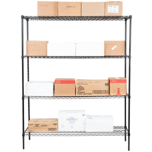 """Regency 18"""" x 60"""" NSF Black Epoxy 4-Shelf Kit with 74"""" Posts Main Image 3"""