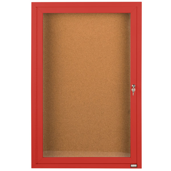 """Aarco DCC4836RR 48"""" x 36"""" Enclosed Hinged Locking 1 Door Powder Coated Red Finish Indoor Bulletin Board Cabinet"""