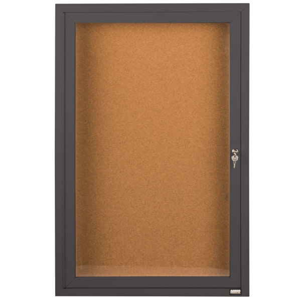 "Aarco DCC4836RBA 48"" x 36"" Enclosed Hinged Locking 1 Door Bronze Anodized Finish Indoor Bulletin Board Cabinet"