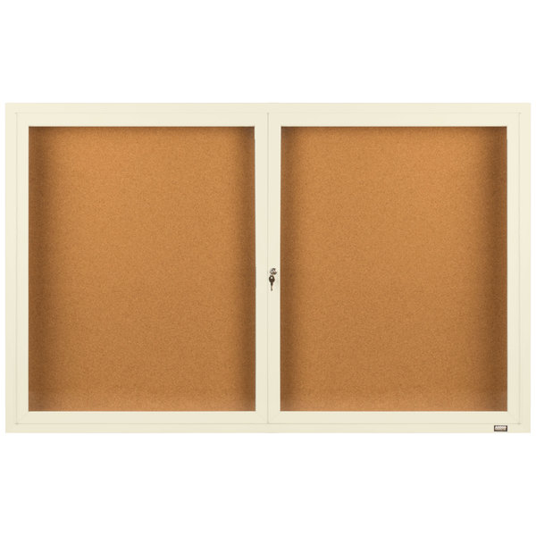 """Aarco DCC3660RIV 36"""" x 60"""" Enclosed Hinged Locking 2 Door Powder Coated Ivory Finish Indoor Bulletin Board Cabinet"""