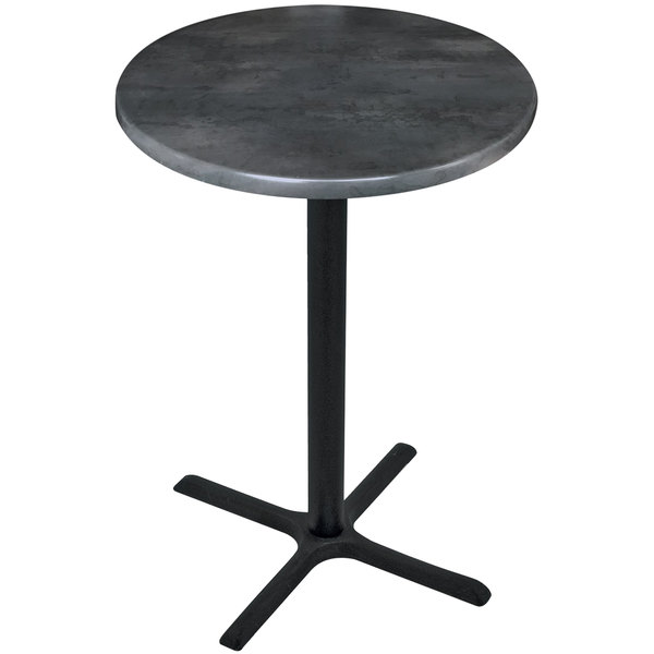 "Holland Bar Stool OD211-3042BWOD30RBlkStl 30"" Round Black Steel Laminate Outdoor / Indoor Bar Height Table with Cross Base"