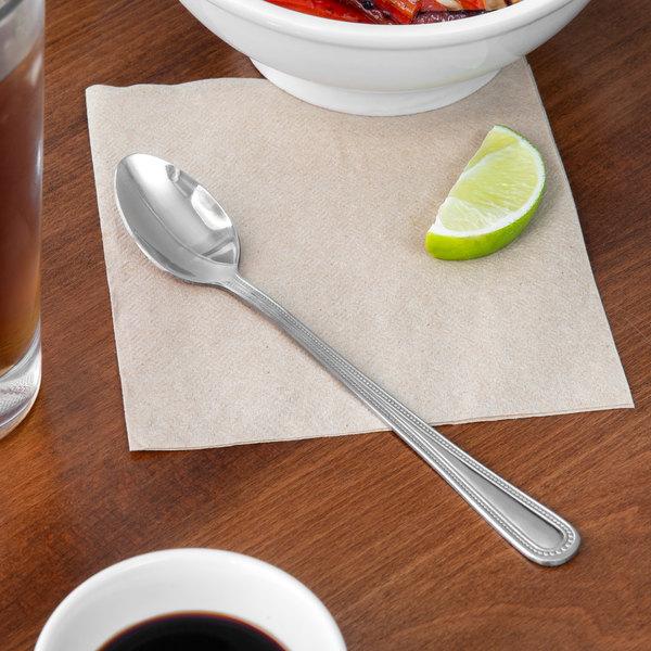 """Choice Milton 7 1/2"""" 18/0 Stainless Steel Medium Weight Iced Tea Spoon - 12/Case Main Image 5"""