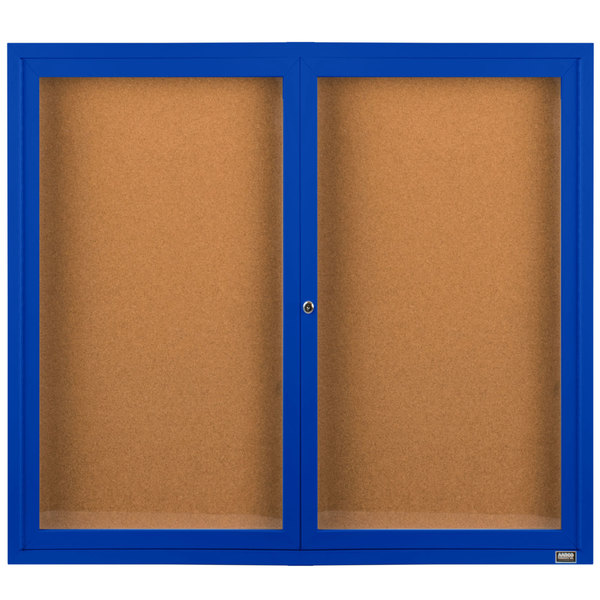 "Aarco DCC4860RB 48"" x 60"" Enclosed Hinged Locking 2 Door Powder Coated Blue Finish Indoor Bulletin Board Cabinet"