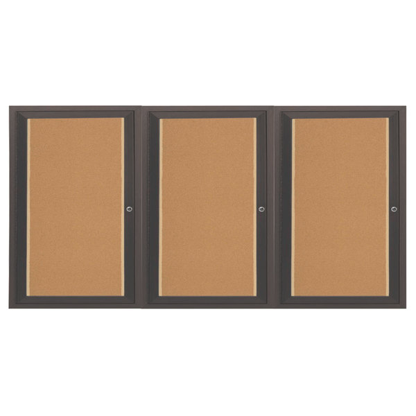 "Aarco DCC4872-3RBA 48"" x 72"" Enclosed Hinged Locking 3 Door Bronze Anodized Finish Indoor Bulletin Board Cabinet"
