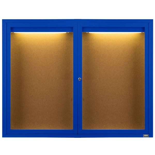 "Aarco DCC4872RIB 48"" x 72"" Enclosed Hinged Locking 2 Door Powder Coated Blue Finish Indoor Lighted Bulletin Board Cabinet"
