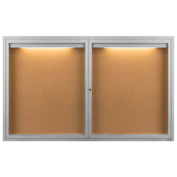 """Aarco DCC3660RI 36"""" x 60"""" Enclosed Hinged Locking 2 Door Satin Anodized Finish Indoor Lighted Bulletin Board Cabinet"""
