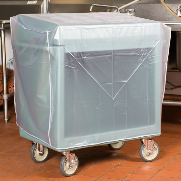 Cambro TDCR12401 Slate Blue Tray and Dish Cart with Cutlery Rack and Protective Vinyl Cover Main Image 7