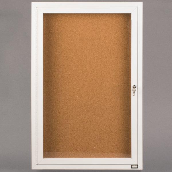 "Aarco DCC4836RW 48"" x 36"" Enclosed Hinged Locking 1 Door Powder Coated White Finish Indoor Bulletin Board Cabinet"